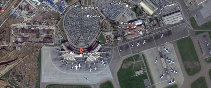 Vue satellite de l'aéroport international Houari Boumediene à Alger